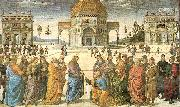 PERUGINO, Pietro Christ Giving the Keys to St. Peter oil painting picture wholesale
