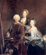 PESNE, Antoine The Artist at Work with his Two Daughters oil painting artist