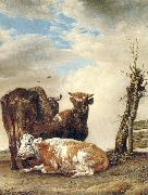 POTTER, Paulus Two Cows a Young Bull beside a Fence in a Meadow oil painting picture wholesale