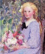 Palmer, Pauline Girl with Flowers oil painting reproduction