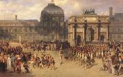 joseph-Louis-Hippolyte  Bellange A Review Day under the Empire in the Cour de Carrousel near the Tuileries Palace (mk05) oil painting artist