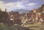 Achille-Etna Michallon Ruins of the Theater at Taormina (Sicily) (mk05) oil
