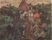Egon Schiele Krumau Landscape (Town and River) (mk09) oil painting artist