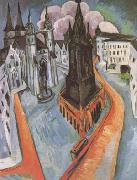 Ernst Ludwig Kirchner The Red Tower in Halle (mk09) oil painting artist