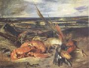 Eugene Delacroix Still Life with a Lobster and Trophies of Hunting and Fishing (mk05) oil painting picture wholesale