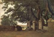 Jean Baptiste Camille  Corot A Gate Shaded by Trees also called Entrance to the Chateau Breton Landscapee (mk05) oil painting picture wholesale