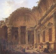 ROBERT, Hubert Interior of the Temple of Diana at Nimes (mk05) oil painting picture wholesale