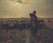 jean-francois millet Shepherdess with her flock (san17) oil painting artist