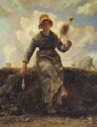 jean-francois millet The Spinner,Goat-Girl from the Auvergne (san20) oil painting picture wholesale