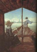 Carl Gustav Carus Boat Ride on the Elbe,near Dresden (mk10) oil painting picture wholesale