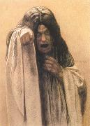Carlos Schwabe Study for The Wave female figure left of the central figure (mk19) oil painting artist