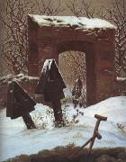 Caspar David Friedrich Cemetery in the Snow (mk10) oil