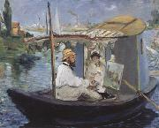 Edouard Manet Monet Painting in his Studio Boat (nn02) oil painting picture wholesale