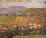 Egon Schiele Village with Mountain (mk12) oil painting picture wholesale
