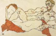 Egon Schiele Recling Male and Female Nude Entwined (mk12) oil painting picture wholesale