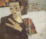 Egon Schiele Self-Portrait with Black Clay Vase and Spread Fingers (mk12) oil painting picture wholesale
