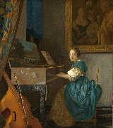 Jan Vermeer Young Woman Seated at a Virginal (mk08) oil painting picture wholesale