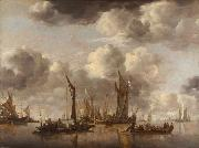 Jan van de Capelle Shipping Scene with a Dutch Yacht Firing a Salut (mk08) oil painting picture wholesale