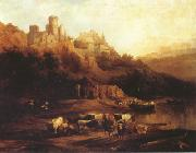 Jenaro Perez Villaamil Herd of Cattle Resting on a Riverbank in Front of a Castle (mk22) oil painting artist