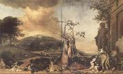 WEENIX, Jan Game Still Life Before a Landscape with Bensberg Palace (mk14) oil painting picture wholesale