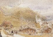 Albert goodwin,r.w.s A Sunday Morning in Engelberg,Switzerland (mk37) oil