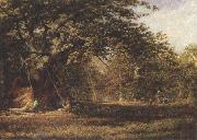 Alfred wilson cox The Woodmans'Bower,Birkland,Sherwood Forest (mk37) oil painting artist