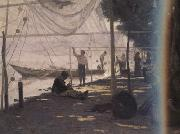 Francois Bocion Fishermen Mending Their Fishing Nets (nn02) oil painting picture wholesale