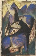 Franz Marc Two Blue Horses (mk34) oil painting picture wholesale