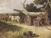 James holland,r.w.s Countryfolk logging (mk37) oil painting artist