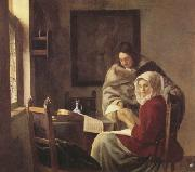 Jan Vermeer Girt interrupted at her music (mk30) oil painting picture wholesale