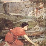 John William Waterhouse Study:Maiidens picking Flowers by a Stream (mk41) oil painting picture wholesale