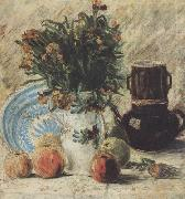 Vincent Van Gogh Vase with Flowers Coffeepot and Fruit (nn04) oil painting picture wholesale