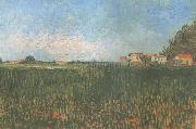 Vincent Van Gogh Farmhouses in a Wheat Field near Arles (nn04) oil painting picture wholesale