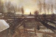 Vincent Van Gogh The Parsonage Garden at Nuenen in the Snow (nn04) oil painting picture wholesale