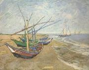 Vincent Van Gogh Fishing Boats on the Beach at Saintes-Maries (nn04) oil painting picture wholesale