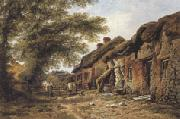 William Pitt Old Cottages at Stoborough,Dorset (mk37) oil painting artist