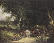 William Shayer Carging Timber in the New Forest (mk37) oil painting artist