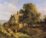 Adrian Ludwig Richter Church at Graupen in Bohemia oil painting picture wholesale