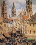 Camille Pissarro The Old Marketplace in Rouen and the Rue de l-Epicerie oil painting picture wholesale