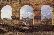 Christoffer Wilhelm Eckersberg View through three northwest arches of the Colossum in Rome,Storm gathering over the city oil painting artist