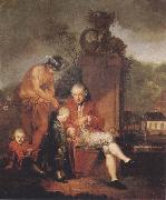 Januarius Zick Gottfried Peter de Requile with his two sons and Mercury oil painting artist