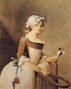 Jean Baptiste Simeon Chardin Girl with a Racquer and Shuttlecock oil painting reproduction