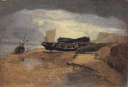 John sell cotman Seashore with Boats oil painting artist