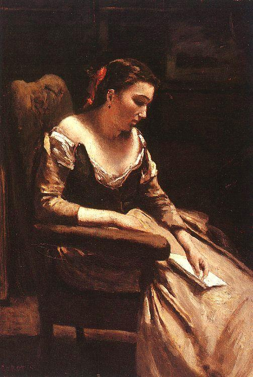 Jean Baptiste Camille  Corot The Letter_3 oil painting image