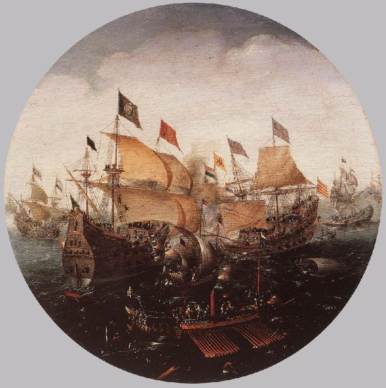ANTHONISZ, Aert Sea Battle between Dutch and Spanish Boats oil painting image