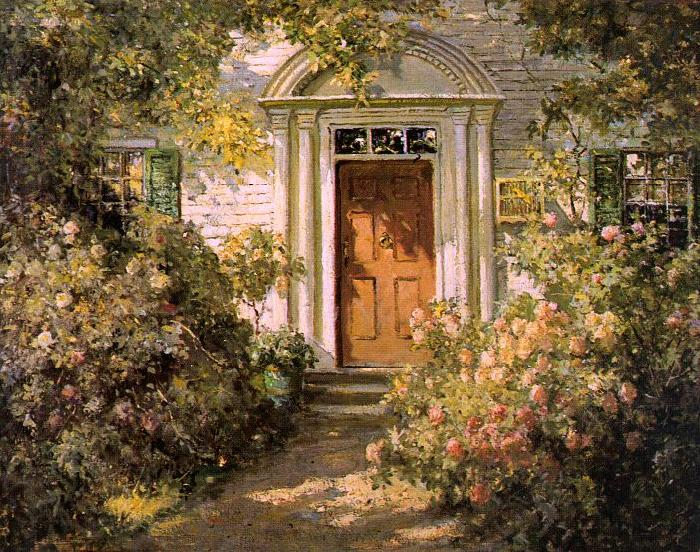 Abbott Fuller Graves Grandmother's Doorway Sweden oil painting art