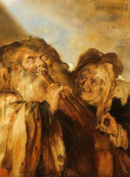 Adriaen Pietersz Vande Venne Beggars Playing Pipes and a Hurdy Gurdy oil painting image