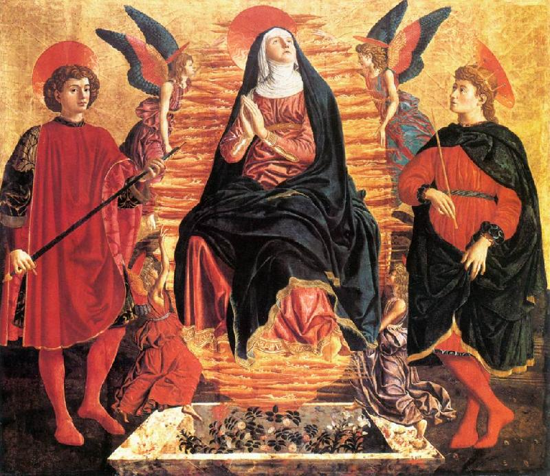 Andrea del Castagno Our Lady of the Assumption with Sts Miniato and Julian oil painting image