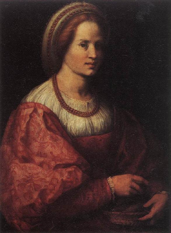 Andrea del Sarto Portrait of a Woman with a Basket of Spindles Sweden oil painting art