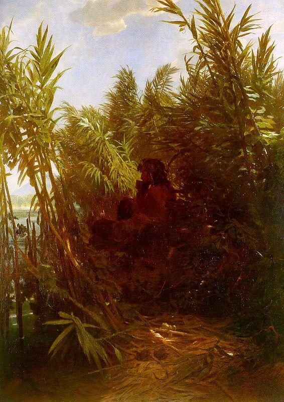 Arnold Bocklin Pan Amongst the Reeds oil painting image